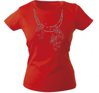 Girly-Shirt mit Print - Schmetterling - Glitzer - 12852 - versch. farben zur Wahl - rot / S