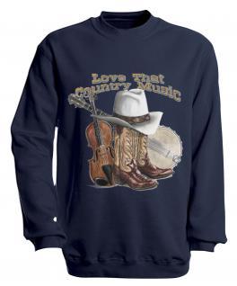 Sweatshirt mit Print - Country Music - S10256 - versch. farben zur Wahl - Gr. Navy / XXL