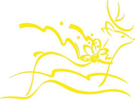 """Wandtattoo/ Dekorfolie mit Motiv """" fliegendes Rentier"""" Ø 90cm Länge max.100 cm, in 11 Farben WD0802 gelb"""