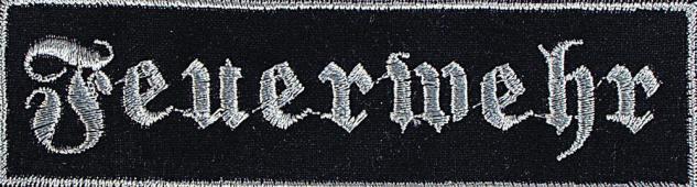 Aufnäher Patch Applikation Stick Emblem - 104071-2 - Gr. ca. 11x3 cm Feuerwehr rot oder schwarz schwarz
