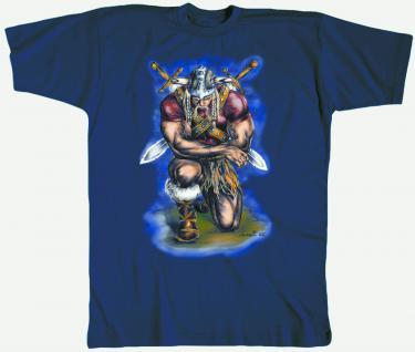 T-Shirt unisex mit Aufdruck - WIKINGER-MOTIV - ANDACHT - 92008 ? Kollektion Milosch - Gr. XL