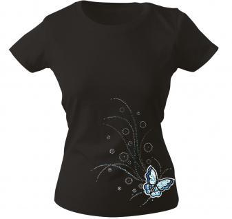 Girly-Shirt mit Print - Schmetterling - 12854 - versch. farben zur Wahl - schwarz / XL