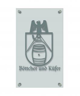 Zunft- Schild - Handwerker-Zeichen - edle Acryl-Kunststoff-Platte mit Beschriftung - Böttcher und Küfer - in gold, silber, schwarz oder weiß - 309434 silber