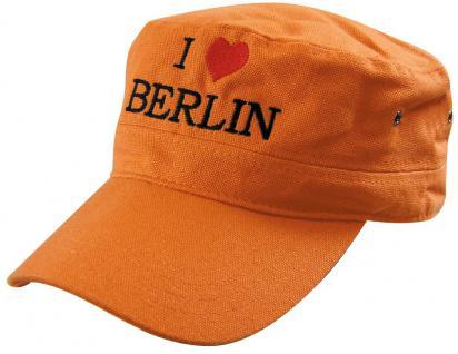MilitaryCap mit Berlin - Stick - I love Berlin Herz - 60516-3 orange - Baumwollcap Baseballcap Hut Cappy Schirmmütze