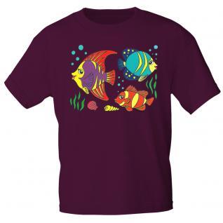 Kinder Marken-T-Shirt mit Motivdruck in 12 Farben Fische K12779 98/104 / Bordeaux