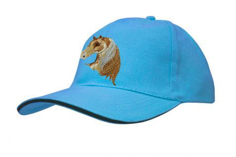 Baseballcap mit Pferde - Stick - Pferdekopf - 69241 türkis navy rosa - Baumwollcap Hut Schirmmütze Cappy Cap