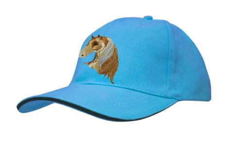 Cap mit gr. Pferde - Stick - Pferdekopf - 69241-2 türkis - Baumwollcap Baseballcap Hut Cappy Schirmmütze