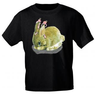 Kinder Marken-T-Shirt mit Motivdruck in 12 Farben Hase K12778 schwarz / 86/92