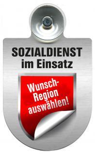 Einsatzschild Windschutzscheibe incl. Saugnapf - Sozialdienst im Einsatz - 309388- -incl. Regionen nach Wahl