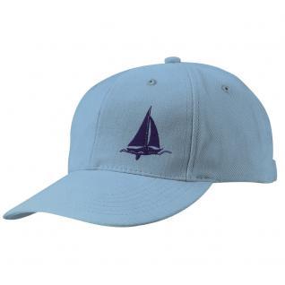 BKappe-Schirmmütze mit kl. Bestickung - Segelschiff auf See - 68819-3 hellblau - Baumwollcap Baseballcap Hut Cap Cappy