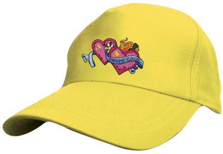 Kinder - Cap mit süssem Herzchen-Stick - Herzchen mit True Love ... wahre Liebe - 69131-2 gelb - Baumwollcap Baseballcap Hut Cap Schirmmütze