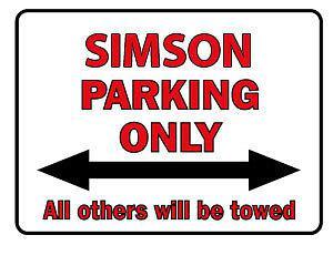 Schild aus Kunststoff - Parkschild - Simson Parking Only - Gr. ca. 40 x 30 cm - 303077