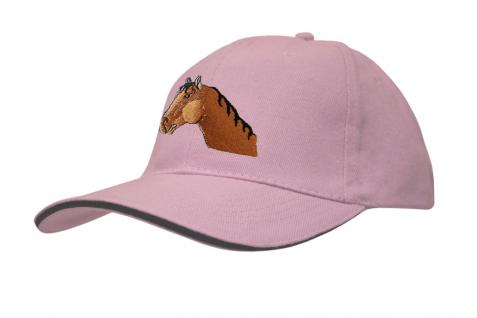 Baseballcap mit Pferde - Stick - Pferdekopf - 69243 türkis navy rosa - Baumwollcap Hut Schirmmütze Cappy Cap