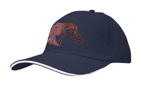 Baseballcap mit Pferde - Stick - Pferdekopf - 69245 türkis navy rosa - Baumwollcap Hut Schirmmütze Cappy Cap
