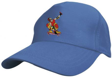 Kinder Schirm-Cap mit Skater-Stick -Skateboard Skater - 69130 rot blau weiss gelb schwarz - Baumwollcap Baseballcap Hut Schirmmütze Cappy
