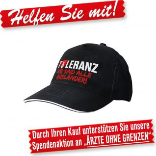 Baseballcap mit Einstickung - Toleranz Wir sind alle Ausländer - 68954 schwarz - Baumwollcap Baseballcap Hut Cappy Schirmmütze