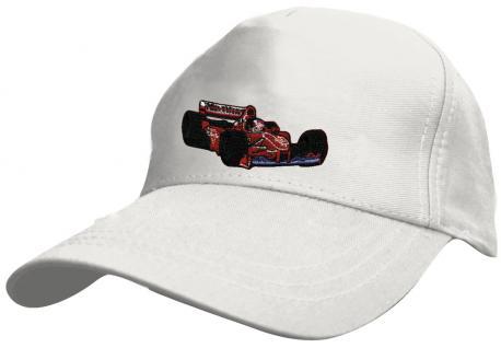 """Kinder BaseCappy mit Rennauto-Bestickung - F1 Rennauto - 69126-4 weiss - Baumwollcap Baseballcap Hut Cap Schirmmütze in 5 Farben """" Rennwagen"""" weiß"""
