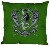 """(K10898-1) Deko- Kissen mit hochwertigem Motiv """" Fee Flügel"""", Größe ca. 40 x 40 cm, in 12 Fasrben erhältlich grün"""