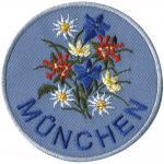 Aufnäher Patches Applikation rund - München Blumen Enzian Edelweiß - Gr. ca. 7cm (00055)