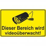 Hinweisschild - Dieser Bereich wird videoüberwacht - Gr. ca. 25 x 15 cm - 308813/1
