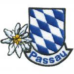 Aufnäher - PASSAU Edelweiss Blau - Weiss Rauten - 00058 - Gr. ca. 6, 5cm x 6cm