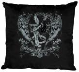 """(K10898-1) Deko- Kissen mit hochwertigem Motiv """" Fee Flügel"""", Größe ca. 40 x 40 cm, in 12 Fasrben erhältlich schwarz"""