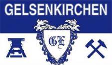 Jumbo-Flagge - Gelsenkirchen - Die Erde, die uns glücklich macht - Gr. ca. 150x90cm - 07796 - Dekoflagge Hissfahne