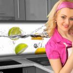Küchenrückwand < Frucht Wasser > Premium Hart-PVC 0, 4 mm selbstklebend - Direkt auf die Fliesen