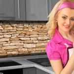 Küchenrückwand < Naturstein Braun > Premium Hart-PVC 0, 4 mm selbstklebend - Direkt auf die Fliesen