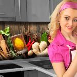 Küchenrückwand < Spices on Wood > Premium Hart-PVC 0, 4 mm selbstklebend - Direkt auf die Fliesen