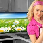 Küchenrückwand < Blumenwiese > Premium Hart-PVC 0, 4 mm selbstklebend - Direkt auf die Fliesen