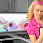 Küchenrückwand < Orchideen Bunt > Premium Hart-PVC 0, 4 mm selbstklebend - Direkt auf die Fliesen
