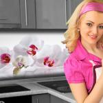 Küchenrückwand < Orchidee > Premium Hart-PVC 0, 4 mm selbstklebend - Direkt auf die Fliesen