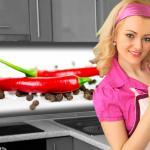 Küchenrückwand < Pfeffer Chilli > Premium Hart-PVC 0, 4 mm selbstklebend - Direkt auf die Fliesen