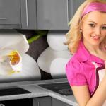 Küchenrückwand < Orchideen Zweig > Premium Hart-PVC 0, 4 mm selbstklebend - Direkt auf die Fliesen