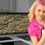 Küchenrückwand < Steinmauer > Premium Hart-PVC 0, 4 mm selbstklebend - Direkt auf die Fliesen