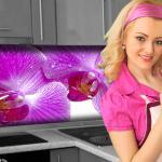 Küchenrückwand < Orchideen Blüte > Premium Hart-PVC 0, 4 mm selbstklebend - Direkt auf die Fliesen
