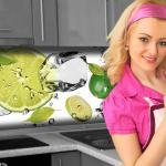 Küchenrückwand < Limetten Eiswasser > Premium Hart-PVC 0, 4 mm selbstklebend - Direkt auf die Fliesen