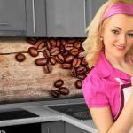 Küchenrückwand < Kaffee Tassen Bohnen > Premium Hart-PVC 0, 4 mm selbstklebend - Direkt auf die Fliesen
