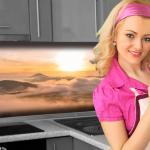 Küchenrückwand < Alpen Sonne > Premium Hart-PVC 0, 4 mm selbstklebend - Direkt auf die Fliesen