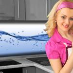 Küchenrückwand < Wasser Welle > Premium Hart-PVC 0, 4 mm selbstklebend - Direkt auf die Fliesen