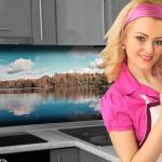 Küchenrückwand < Waldsee > Premium Hart-PVC 0, 4 mm selbstklebend - Direkt auf die Fliesen