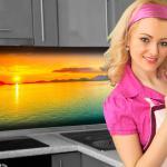 Küchenrückwand < Sonnenuntergang Bunt > Premium Hart-PVC 0, 4 mm selbstklebend - Direkt auf die Fliesen