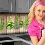 Küchenrückwand < Holzwand Kräuter > Premium Hart-PVC 0, 4 mm selbstklebend - Direkt auf die Fliesen