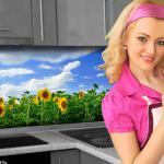 Küchenrückwand < Sonnenblume > Premium Hart-PVC 0, 4 mm selbstklebend - Direkt auf die Fliesen