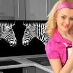 Küchenrückwand < Zebra Look > Premium Hart-PVC 0, 4 mm selbstklebend - Direkt auf die Fliesen