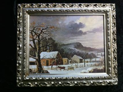 Gerahmte Gemälde Bilder Rahmen Landschaftsbilder Arabesco 43x36 Antiksilber 13