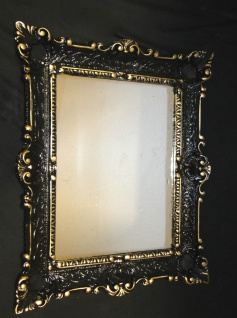 Spiegel Antik Schwarz-Gold Wandspiegel Barock Shabby Chic, Jugendstil 57x47