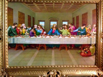Gemälde 12 Apostel Abendmahl Ikonen Antik 90x70 Jesus Christus Leonardo da Vinci