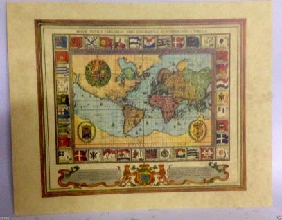 Weltkarte Mittelalter Landkarte Antik Bild 50x40 Kunstdruck Fahne Wandbild